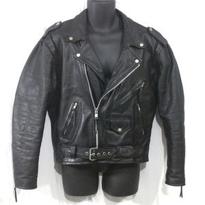 VINTAGE Motorcycle Jacket Zip Black Leather Sz 44